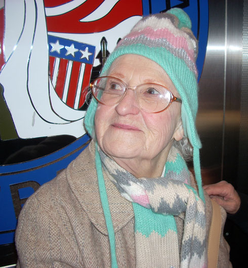 2010 This Passenger Won her Hat and Scarf in the Yankee Swap on our Motor Coach