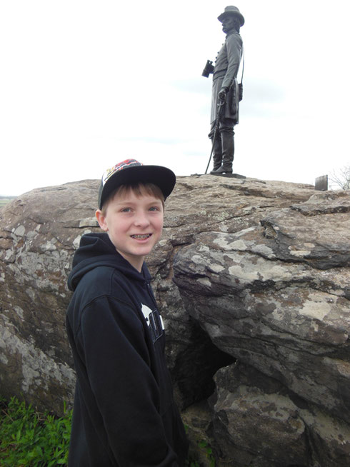 2013 Our Youngest Passenger Gets a History Lesson on the Battlefield at Gettysburg