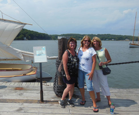 Three Ladies Thinking of Sailors and the Sea on a Recent Mystery Trip to Mystic Seaport