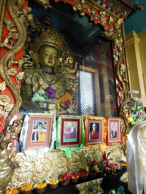 2013 Photos of the Dalai Lama are Venerated at this Gilt Shrine in the Monkey Temple