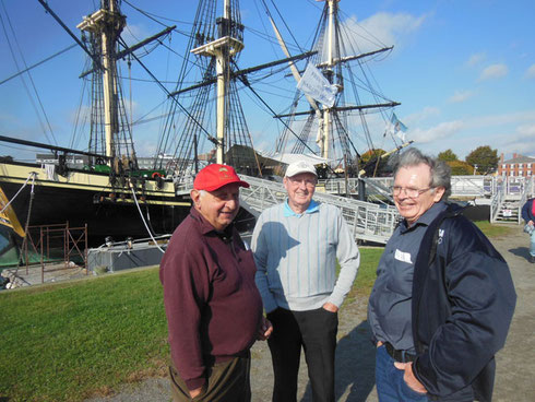 A Group in front of the Cargo Ship Friendship at the Salem Maritime National Site