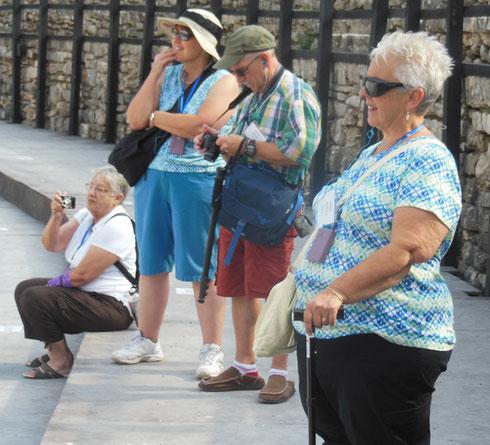 Passengers Enjoy the Sights Inside the Roman Amphitheater at Pula, Croatia