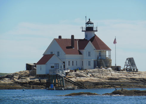 The Boothbay Harbor Lighthouse Greets Boats as they Sail into the Harbor