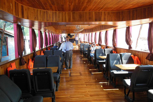2015 The Gleaming Teakwood Interior of our Riverboat ride on the Mekong River