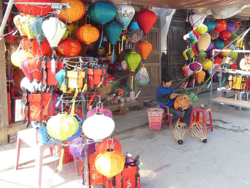 A Lantern Maker in his Stall at Hoi An, Vietnam