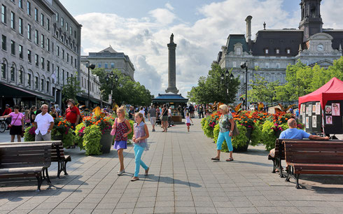 Montreal's Place Jacques Cartier is alive with Activity
