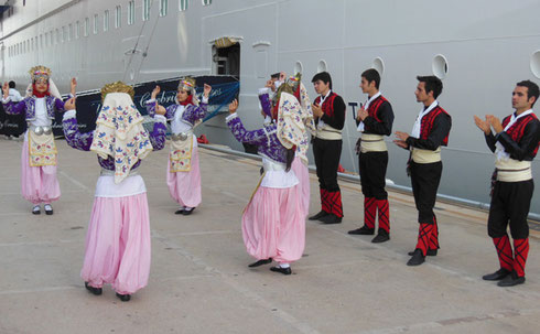 2013 Folkloric Dancers Entertain Passengers as they Disembark at the Port of Kusadasi