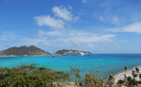 A Panoramic View of Norwegian Gem at Anchor in Philipsburg, St. Maarten