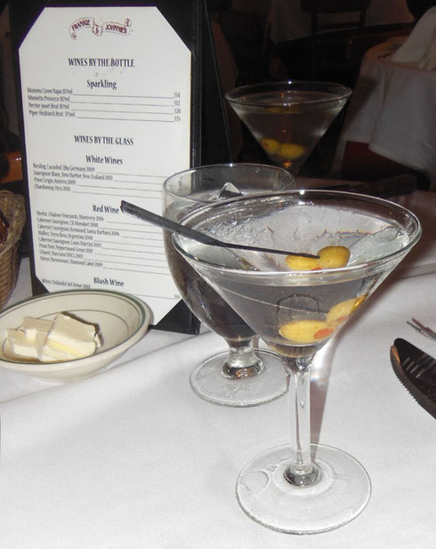 2015 The Martinis at Frankie & Johnny's on Manhattan's West Side are Legendary