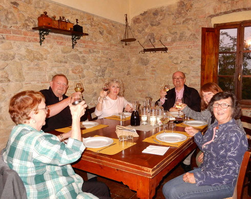 2018 Dining at the Fattoria San Donato in San Gimignano in the hills of Tuscany