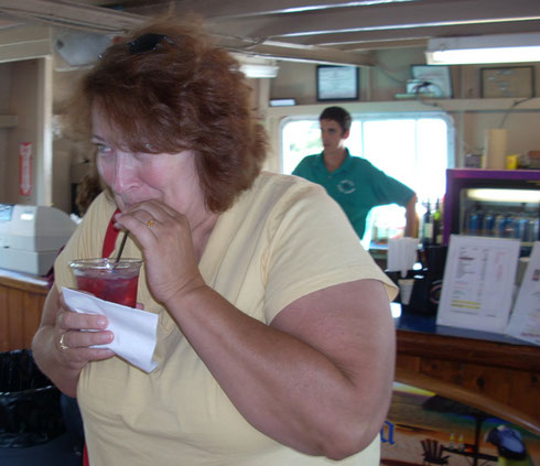 One of our Passengers Enjoys a Cocktail from the Snack Bar Aboard the Viking