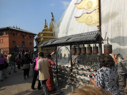 2013 Paryer Wheels are in Constant Motion at the Monkey Temple in Kathmandu