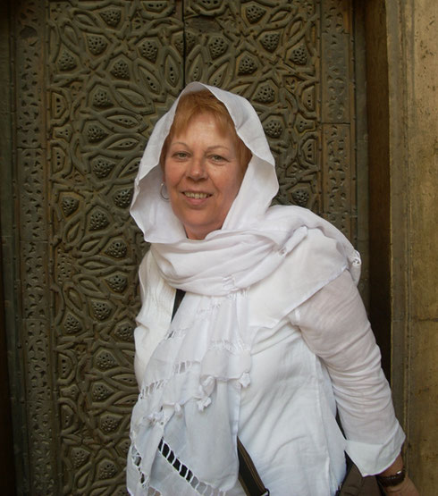 2009 One of our Passengers Modestly Covers her Head for the Mosque of Sultan Hassan