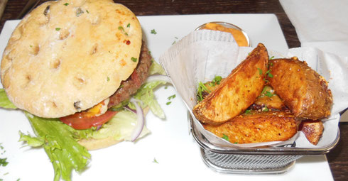 2014 Burgers and Potato Wedges are a Specialty at Oscar's in Copenhagen, Denmark