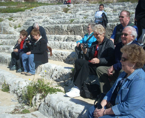 2011 A Group on a Tour of the Ancient Theater of Syracuse, Sicily