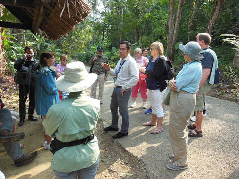 2015 Our local guide explains our visit to beautiful Tat Kuang Si Waterfalls