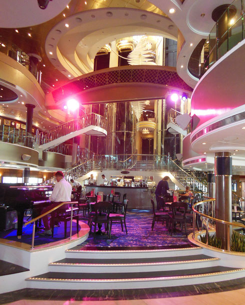 The Luxurious Atrium is the Hub aboard Norwegian Cruise Lines' Dawn
