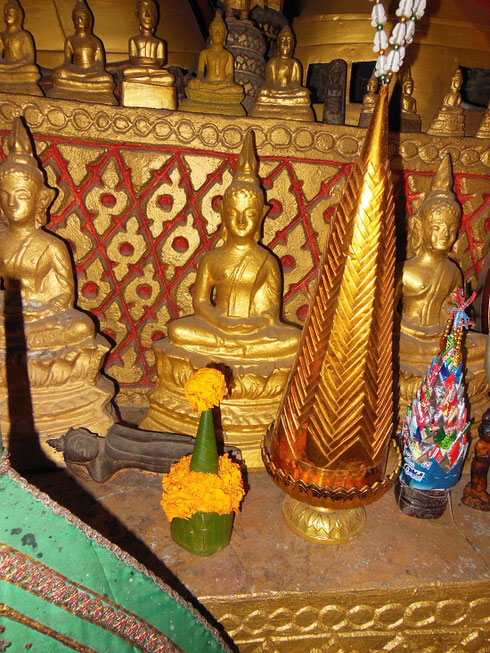 2015 I purchased this small Banana Leaf and Marigold Offering and left it before this Buddha