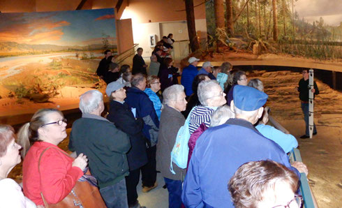 We Crowded the Bridge over the Trackway for our Talk about Dinosaur Tracks