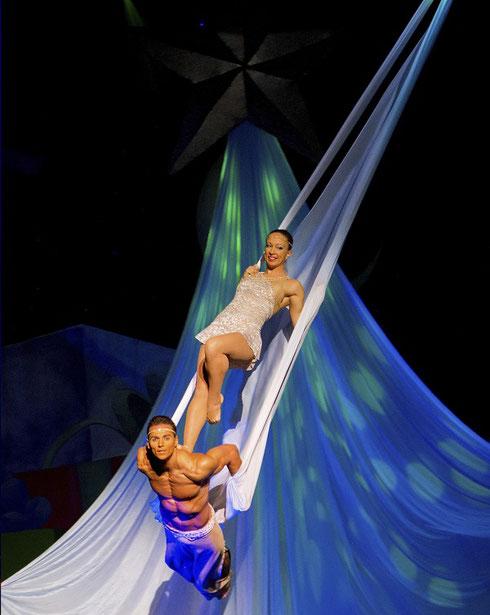 Acrobats perform in the Cirque Dreams Holidaze show