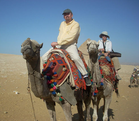 Randall and Mary Riding 'Mickey' and 'Mouse' on the Giza Plateau