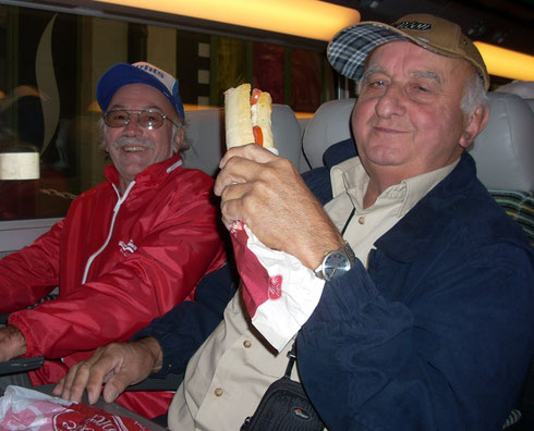 Armand Salutes with his Ham & Cheese Baguette Aboard the High Speed Train to Avignon