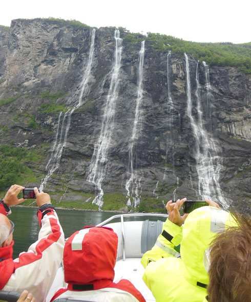 2014 Our Rib Boat Came Very Close to the Seven Sisters Waterfall in Geiranger, Norway