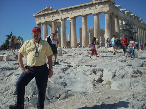 2011 Athens - Posing in front of the Parthenon - the most Beautiful Temples in the World