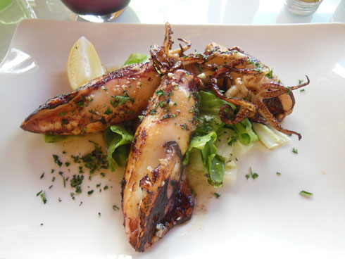 Succulent Grilled Squid with Lemon at Kavana Duje Pizzaria in Split, Croatia