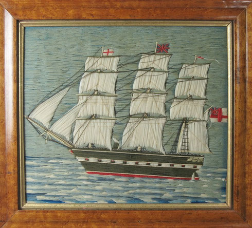 19th century Sailors Folk art Wool Work picture