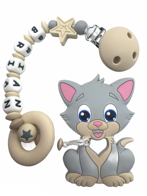 Beisskette mit Name, Silikonkette, Nuggikette, Beisskette Katze