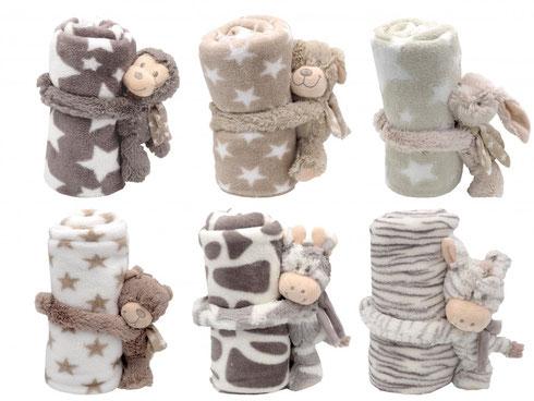 Kuscheldecke, Babydecke mit Kuscheltier, Decke Baby, Kinderdecke