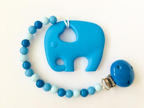 Beisskette Silikon Elefant blau, Beisskette mit Name, Silikonkette, Nuggikette