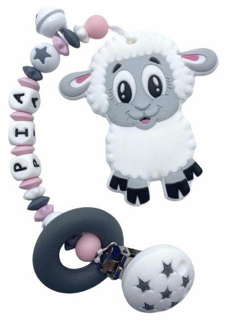 Beisskette mit Name, Silikonkette, Nuggikette, Beisskette Schaf