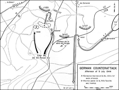 9. Juli Nachmittags - Gegenangriff der Kampfgruppe Wisliceny