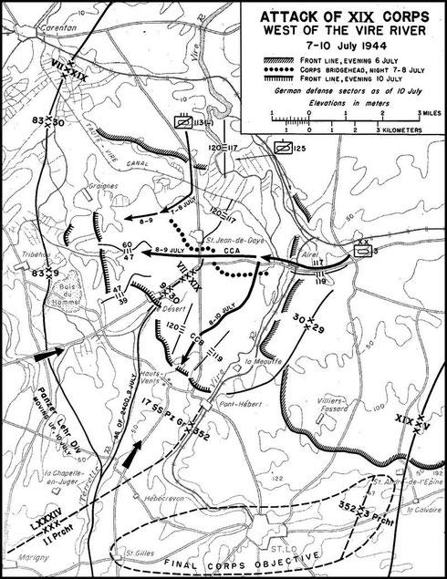 7. - 10. Juli - Das Kampfgeschehen im Vire-Taute Kampfraum