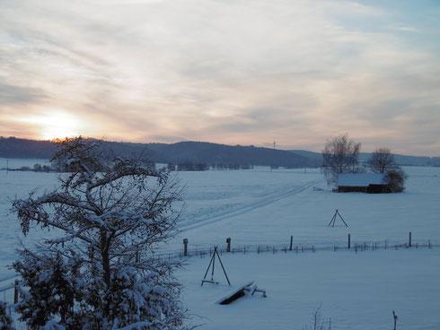 Sonnenuntergang - Blick von der Ferienwohnung - 28. Dez. 2014