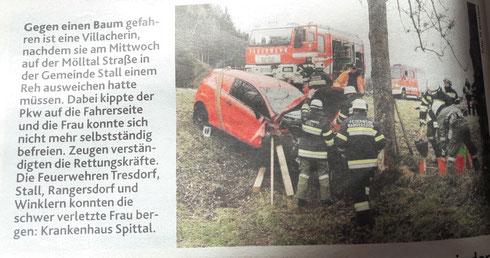 Bericht KRONE zum Unfall vom 11.11.2020 > Foto FF-Winklern