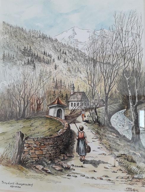 """""""Weg zur Kirche Tresdorf, um 1960""""  - Originalbild am Gemeindeamt - im Bürgermeisterzimmer (mit einer Widmung aus unserer dt. Partnergemeinde) ..."""