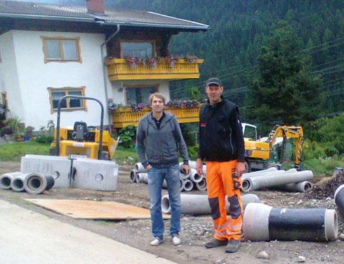 Hier die zuständigen Herren: Bauleiter Matthias Zauchenberger und Polier Wolfgang Wirnsberger