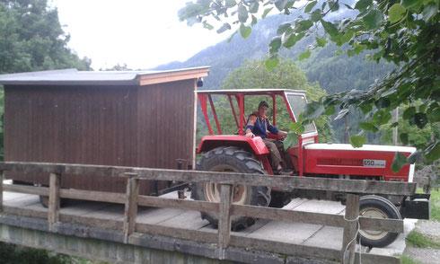 Sept. 2016: Transport Verpflegungswagen ... und Sektionsleiter Daniel überlegt schon, was er mit Christian im Winter veranstalten wird