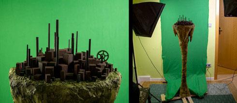 Unser Säulenmodell ist jetzt fertig und kann jetzt für Großaufnahmen verwendet werden. - Diese Einstellungen werden der Einfachheit halber tatsächlich gefilmt, anstatt aus einzelnen Fotos zusammengesetzt.