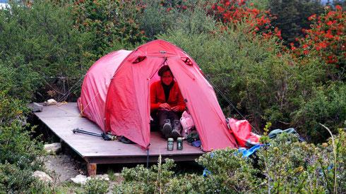 Feierabendbier am Refugio Cuernos