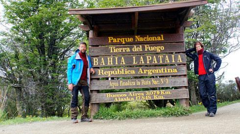 Hier ist das Ende der Panamerikana, der Strasse, die von Alaska nach Feuerland führt.