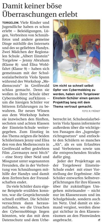 Quelle: Nordkurier - Haffzeitung vom 14.5.14