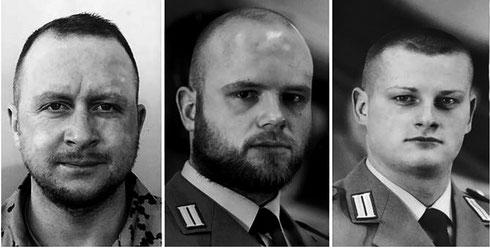 Die drei Gefallenen des Karfreitagsgefechts (v.l.): Hauptfeldwebel Nils Bruns, Hauptgefreiter Martin Augustyniak und Stabsgefreiter Robert Hartert.