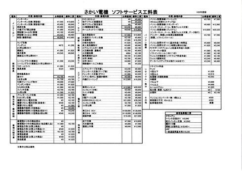 さかい電機ソフトサービス工料表