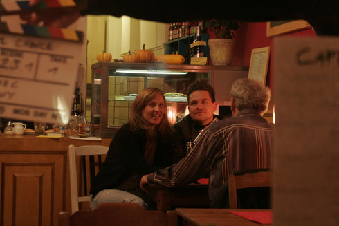 Shooting one of the café scenes with Verena Wolfien, Marco Mehring and John Kirby.