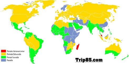 Carte du monde : Climat de Janvier - (c)Trip85.com