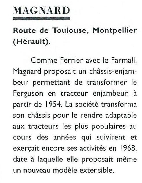 """Extrait du livre """"Encyclopédie des tracteurs fabriqués en France des origines à nos jours"""" de Christian Descombes"""
